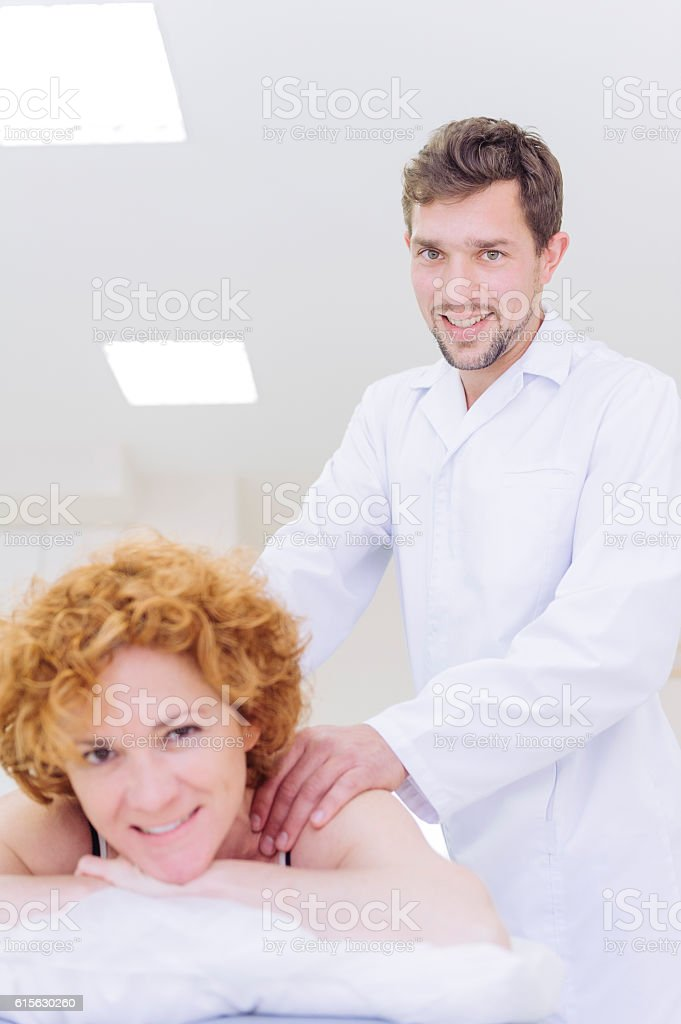 Physioterapist and patient stock photo