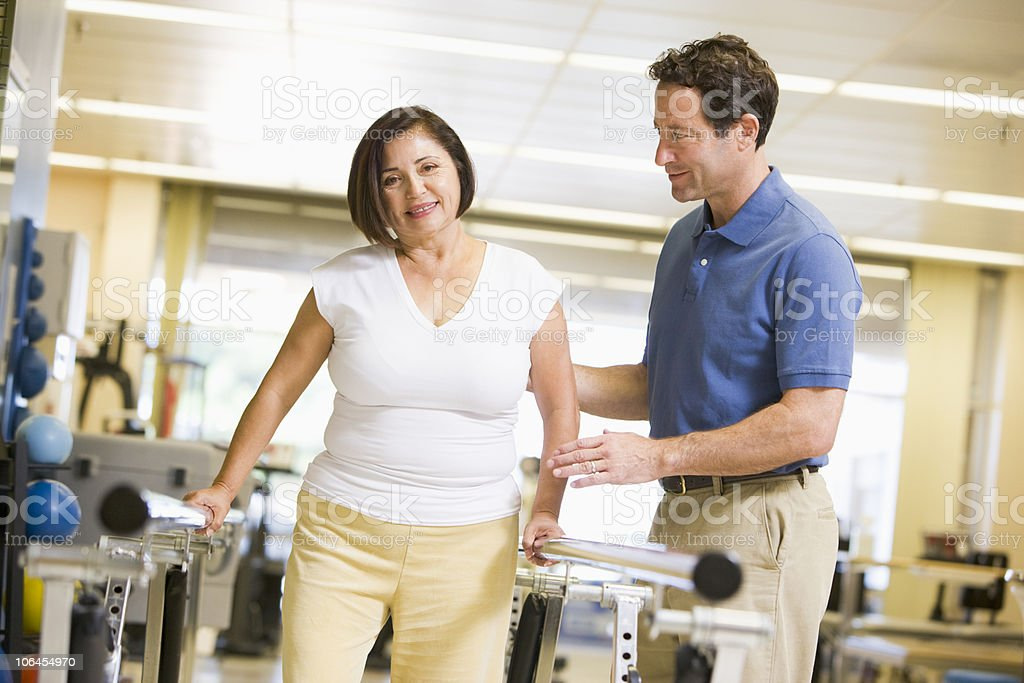 Physiotherapist With Patient In Rehabilitation royalty-free stock photo