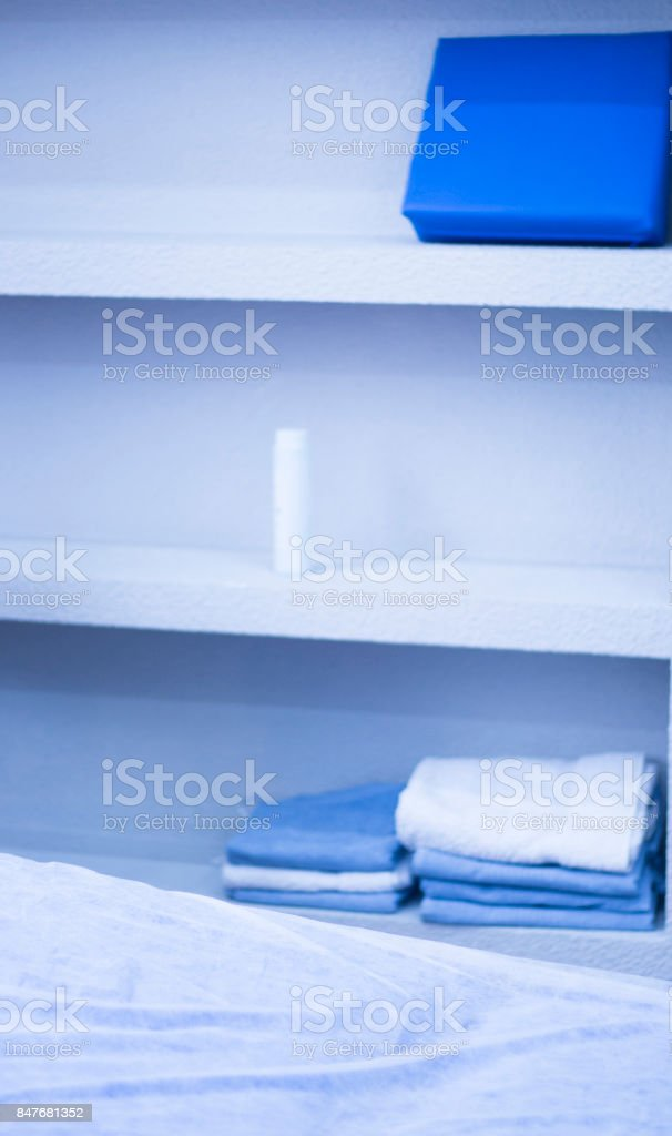 Physiotherapy clinic table physiotherapist bed used for massage treatments on patients. stock photo