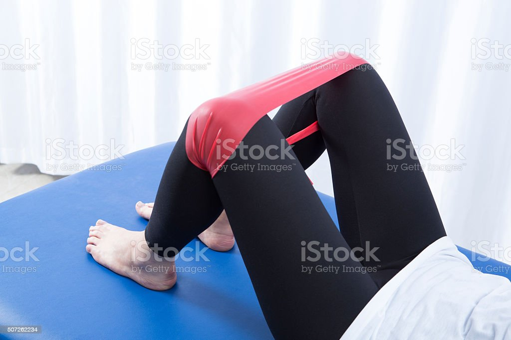 Physiotherapy for knee injury stock photo