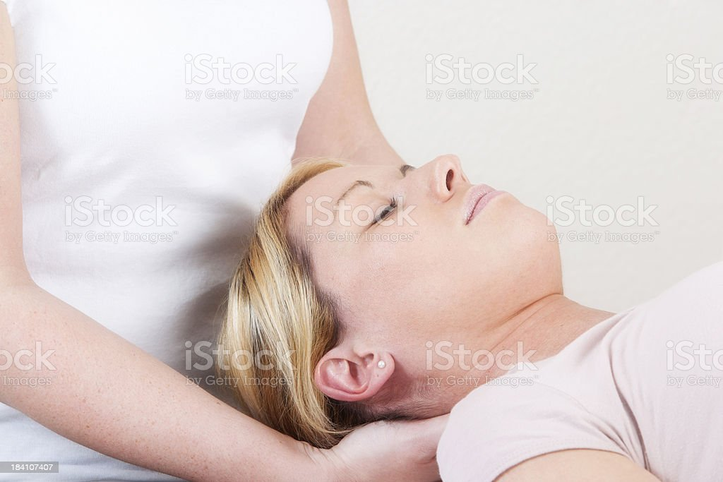 Physiotherapy of neck stock photo
