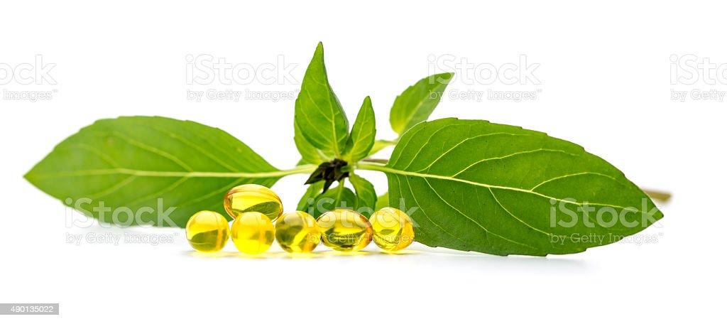 Phytotherapy softgel capsules dietary supplement stock photo