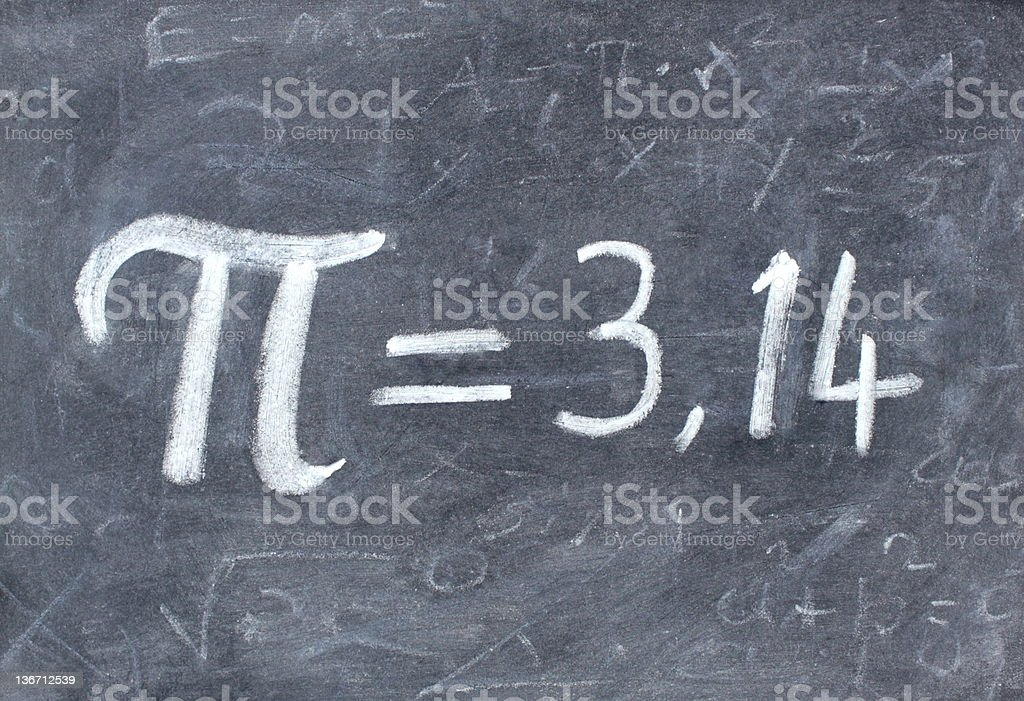 Pi number,  on a blackboard stock photo