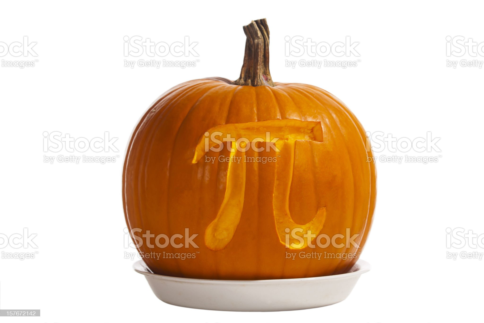 Pi Symbol Carved in Pumpkin in Pie Dish royalty-free stock photo
