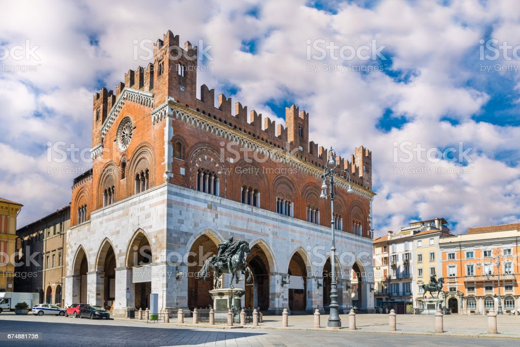Piacenza, Italy. Piazza Cavalli (Square horses) and palazzo Gotico (Gothic palace) in the city center stock photo