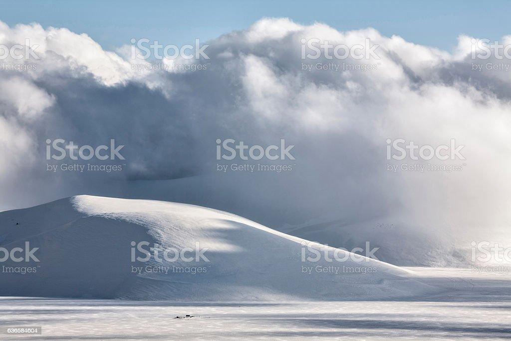 Piana of Castelluccio in winter stock photo