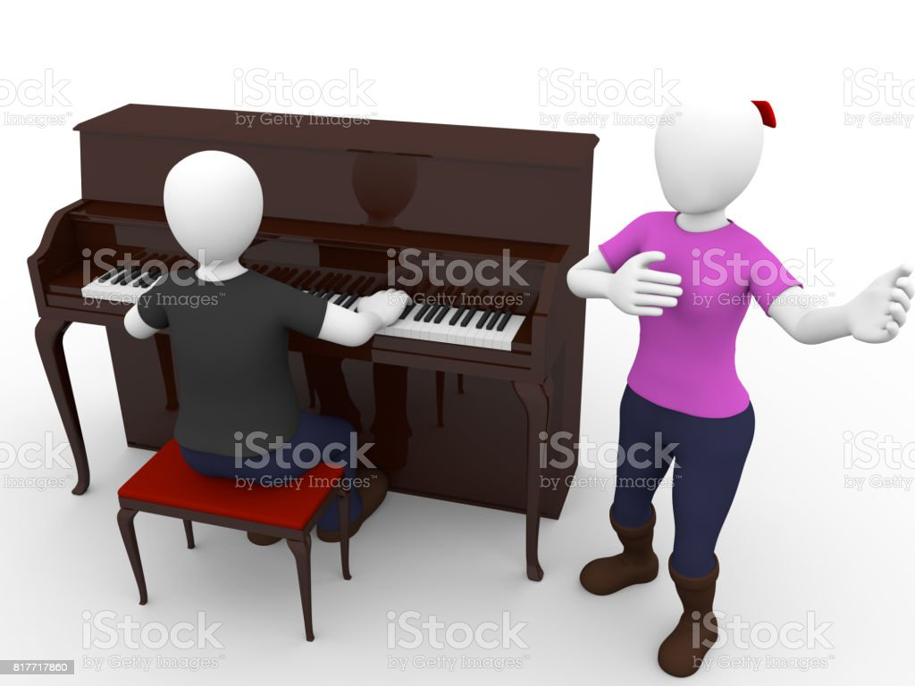 Pianist and singer woman stock photo