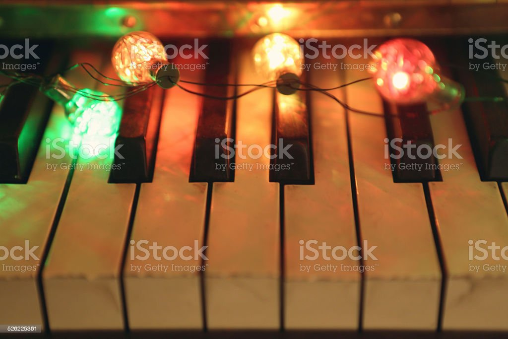 piano and lights stock photo