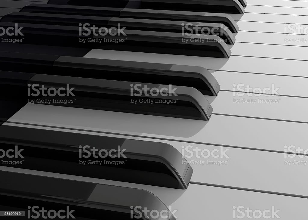 Piano and Microphone - 3D stock photo