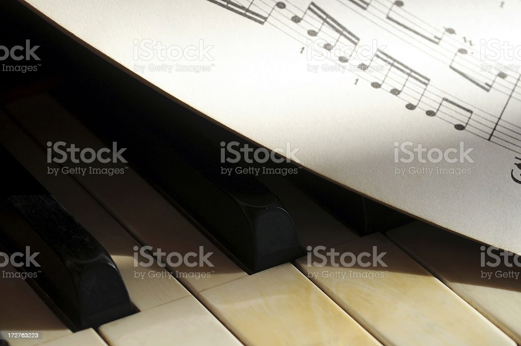 Piano and sheet music royalty-free stock photo