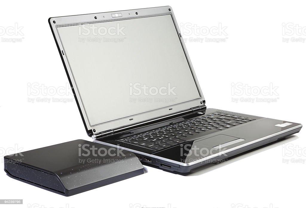 피아노 블랙 노트북 컴퓨터 및 외부 하드 드라이브 royalty-free 스톡 사진