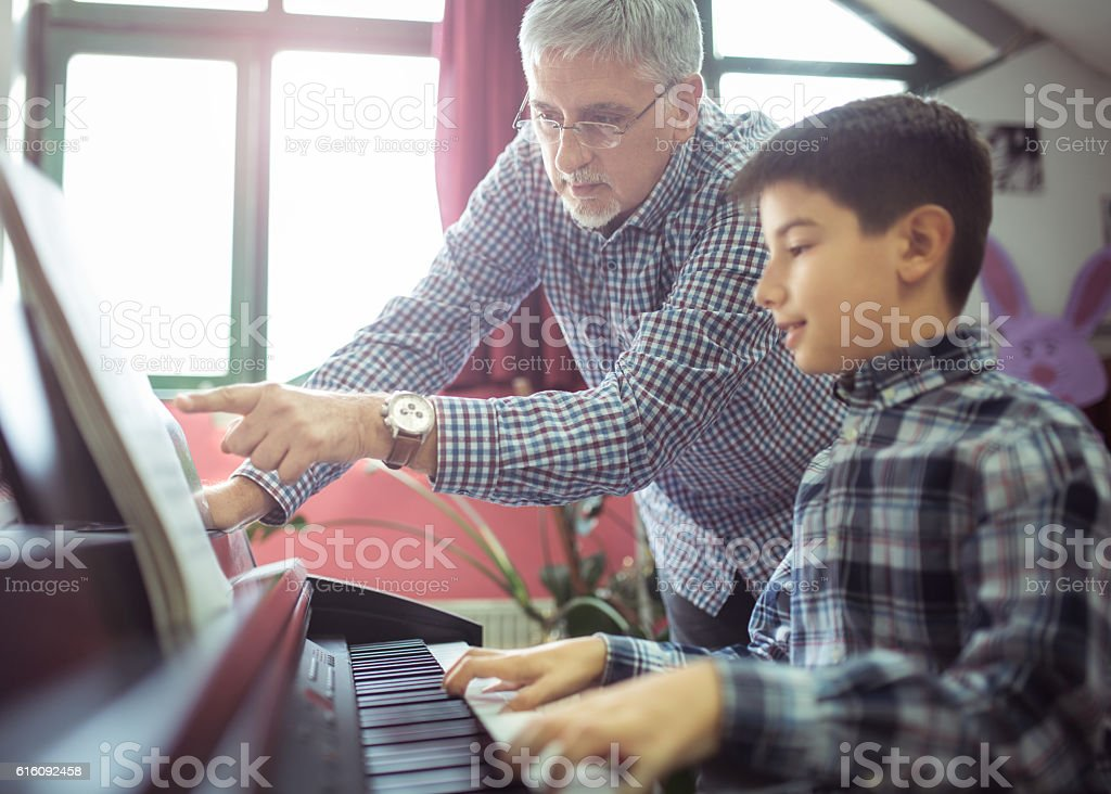 Piano class stock photo