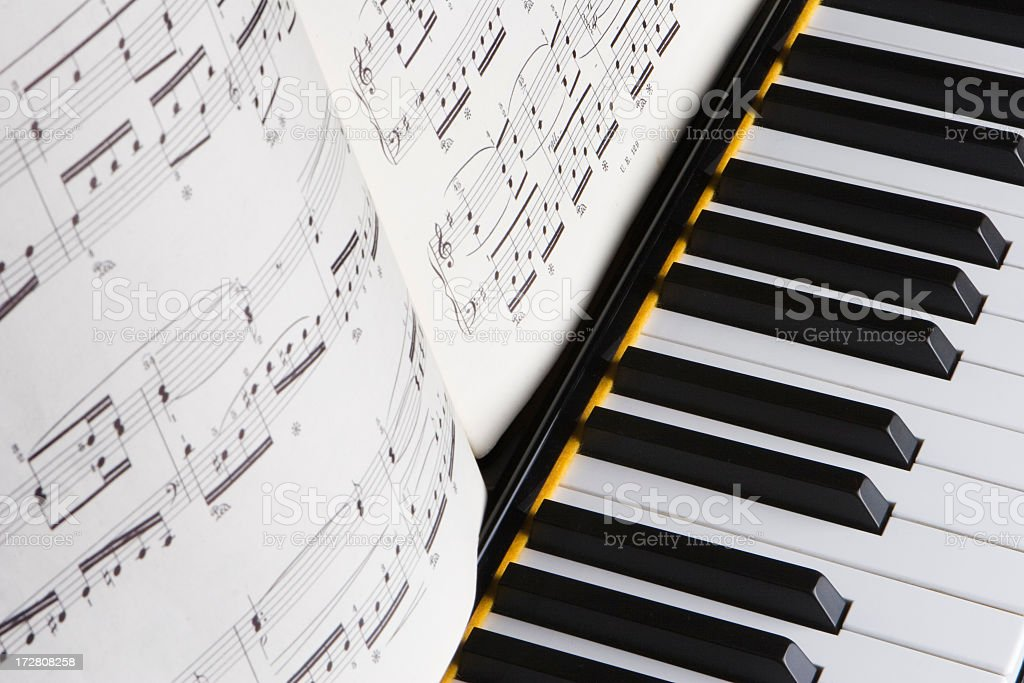 Piano detail with book of music royalty-free stock photo