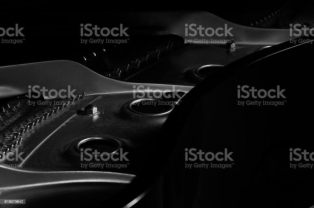 Piano details and strings stock photo
