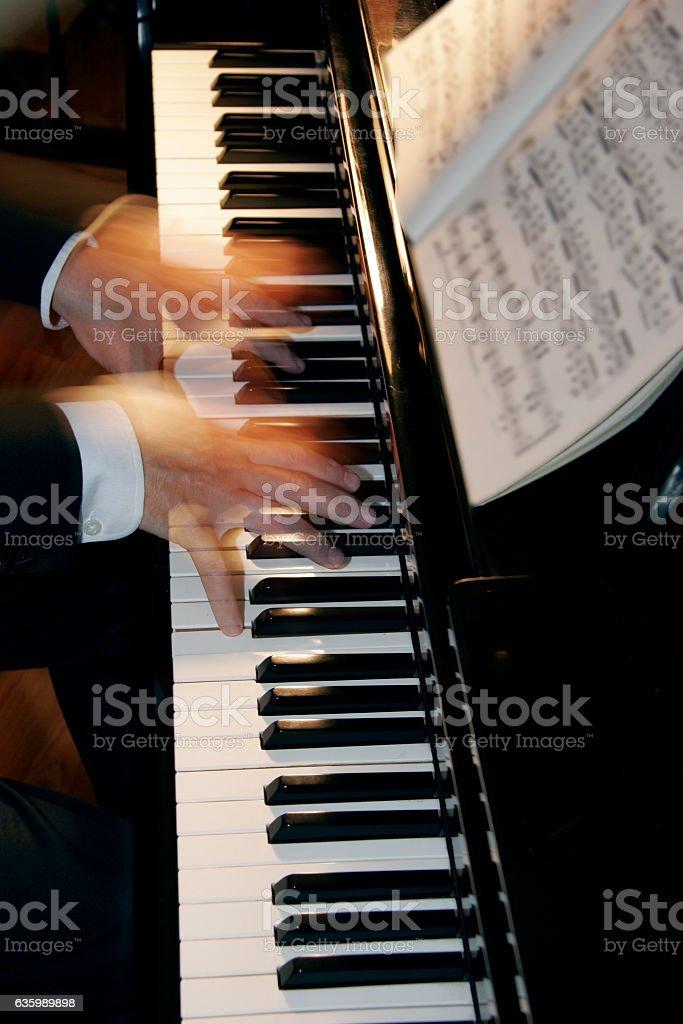 Piano Hands Full Blur stock photo