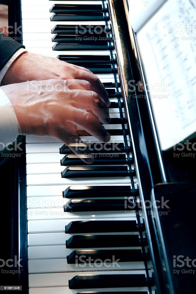 Piano Hands Slow Motion royalty-free stock photo