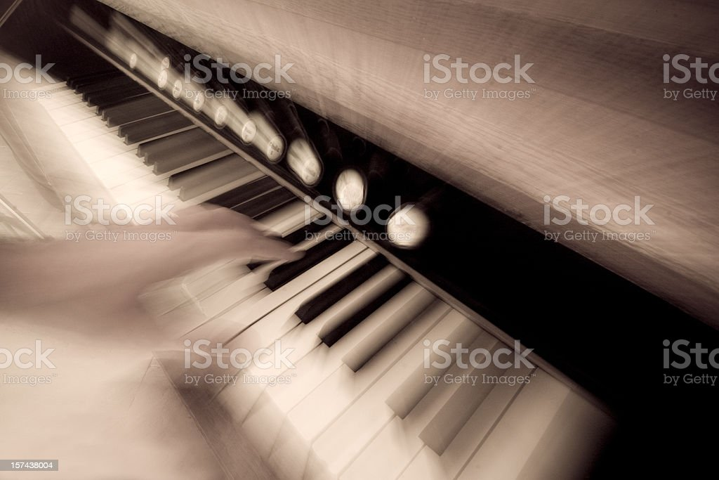 Piano in action stock photo