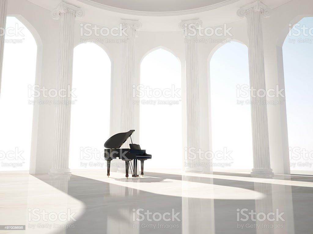 Piano in the classic interior with columns stock photo