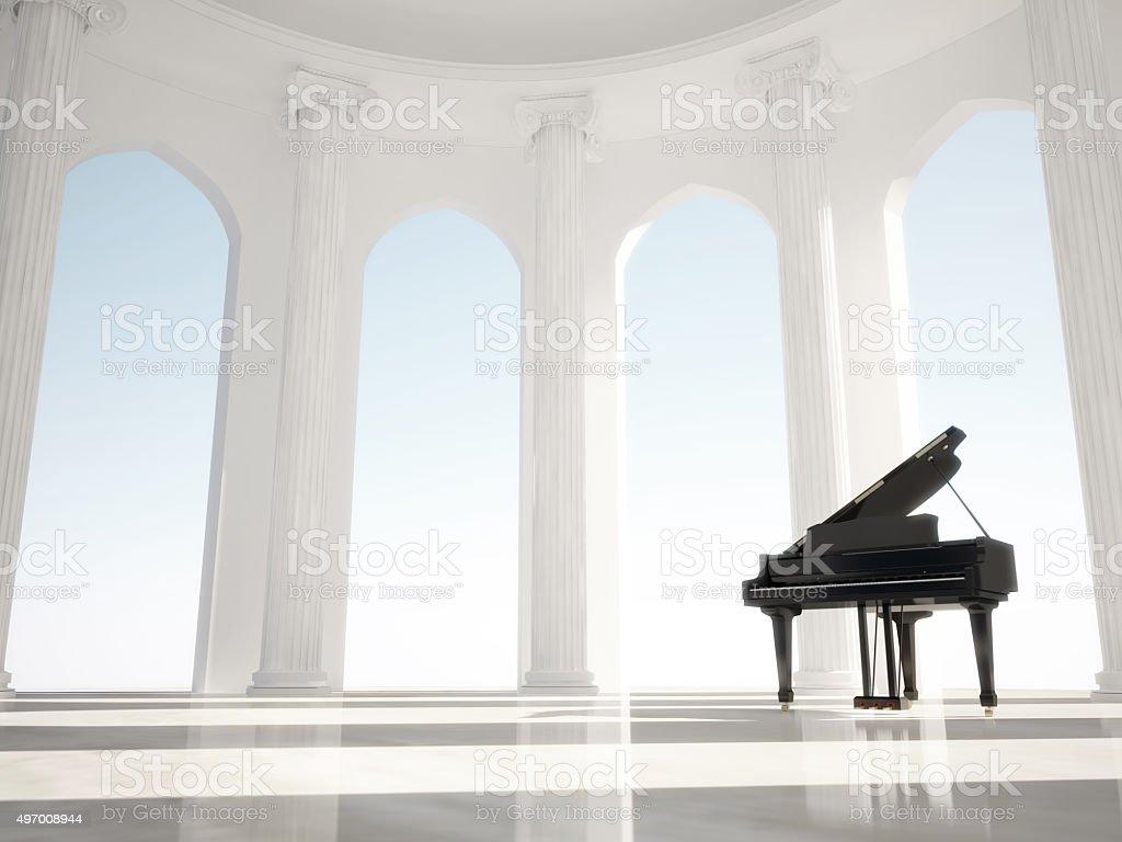 Piano in the classic interior with columns stock photo