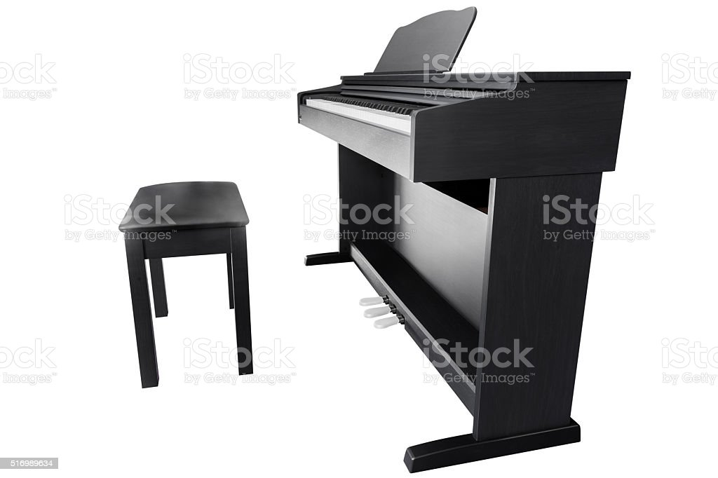 piano isolated on a white background stock photo