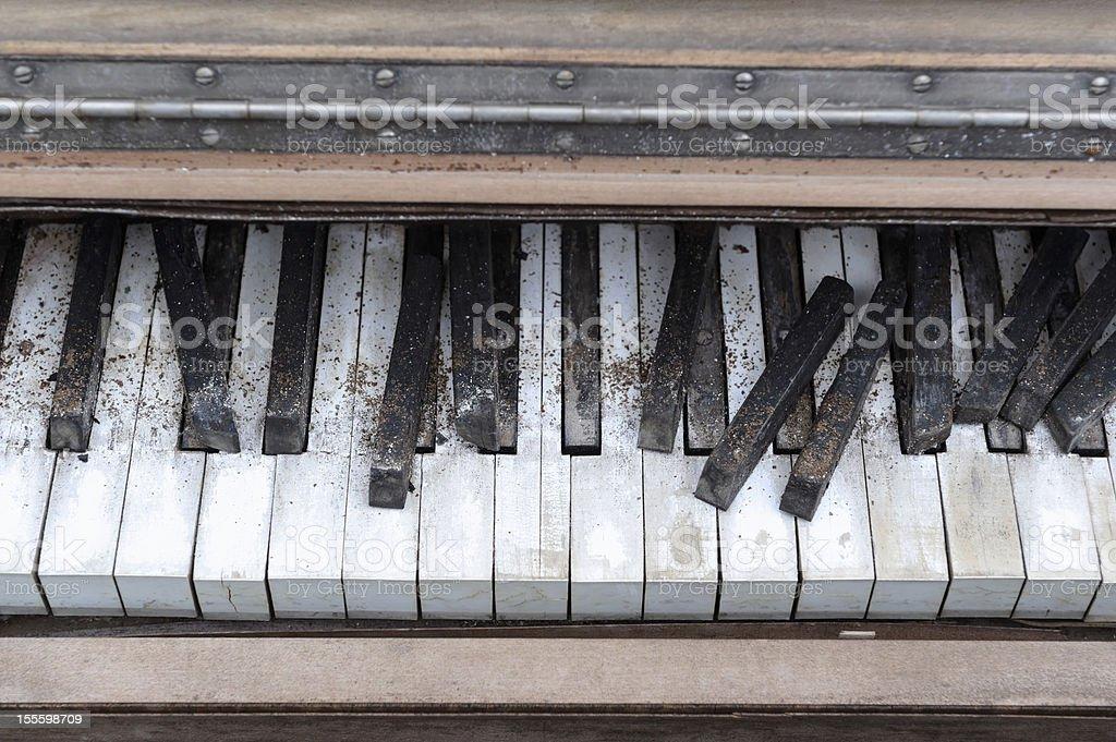 Piano Keyboard Close Up, Abandoned Weathered Grunge royalty-free stock photo