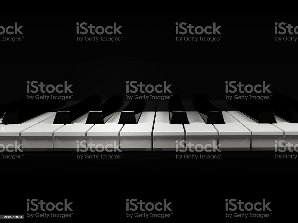 piano keyboard on a black background stock photo