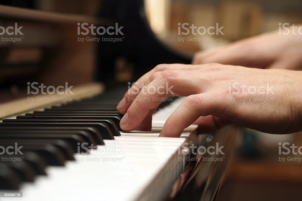 piano / keyboard playing hands and finger stock photo