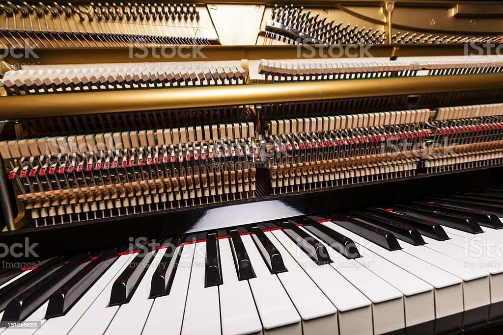 Piano keys and hammers royalty-free stock photo