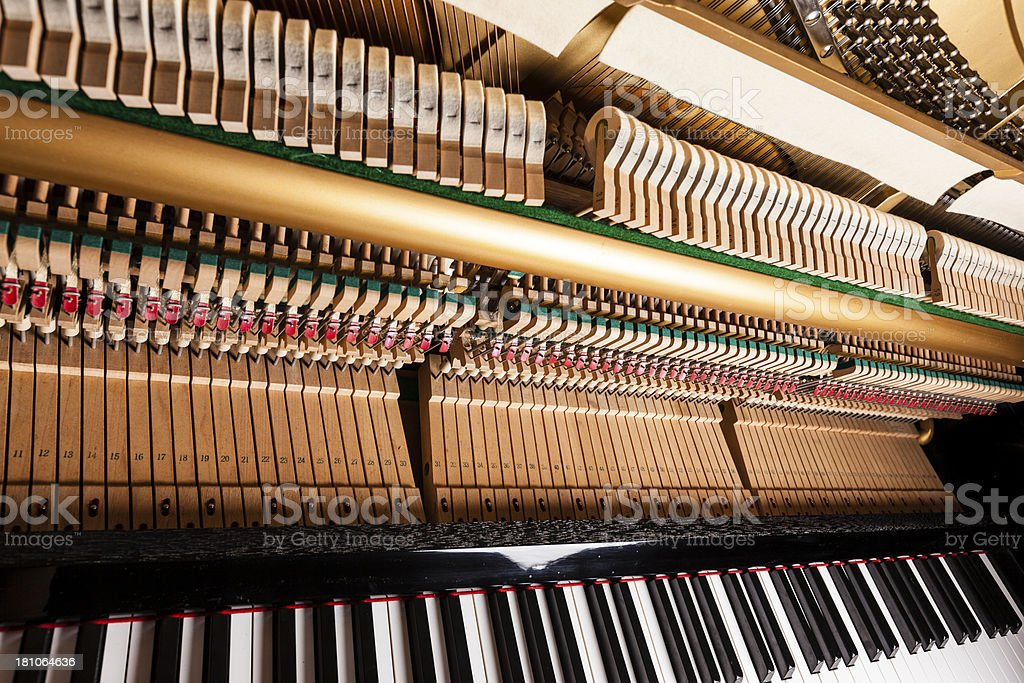Piano keys and hammers royalty-free stock photo