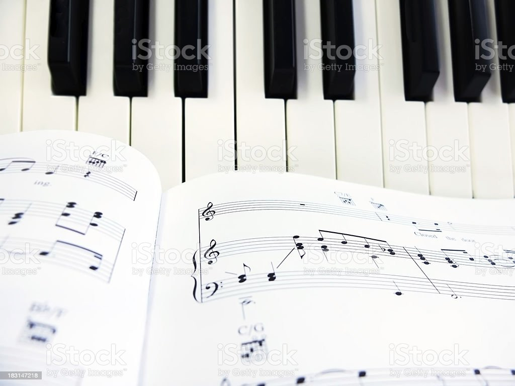 Piano Keys and Sheet of Music royalty-free stock photo