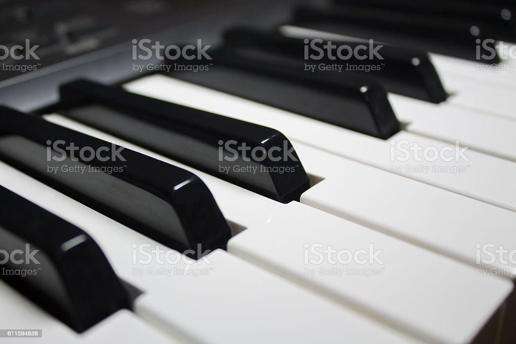 Piano keys black white stock photo