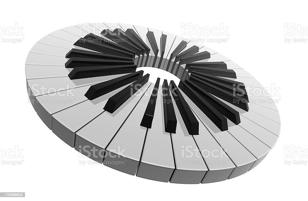 Piano keys circle stock photo