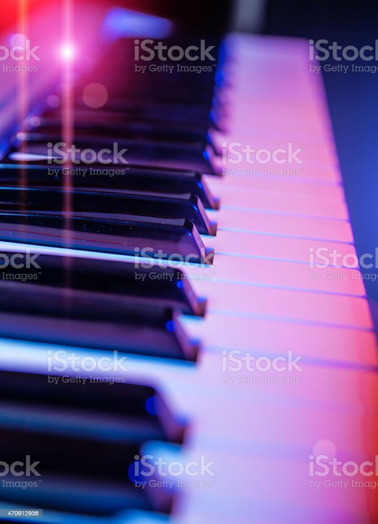 piano keys with a small depth of field stock photo