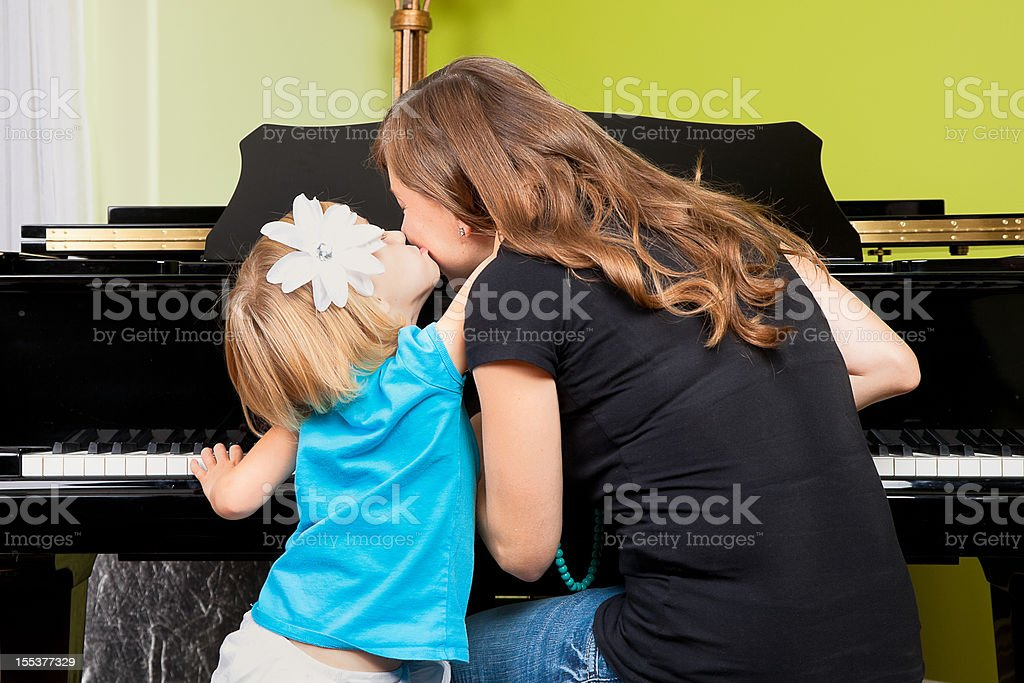 Piano Lessons - Mother and Daughter royalty-free stock photo