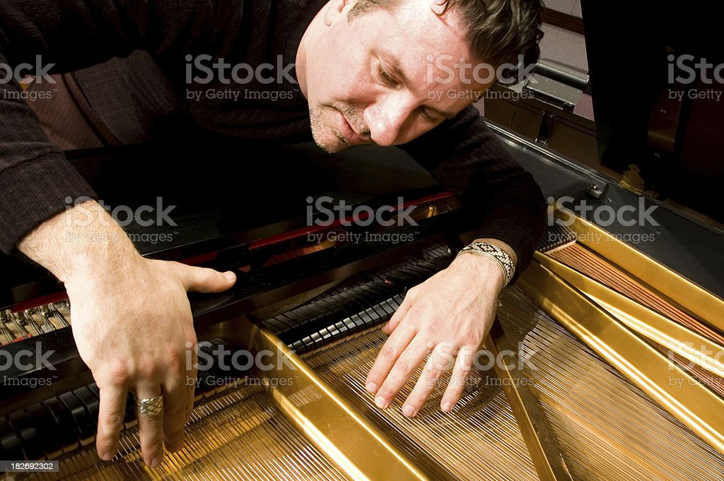 Piano Man Tuning Grand stock photo