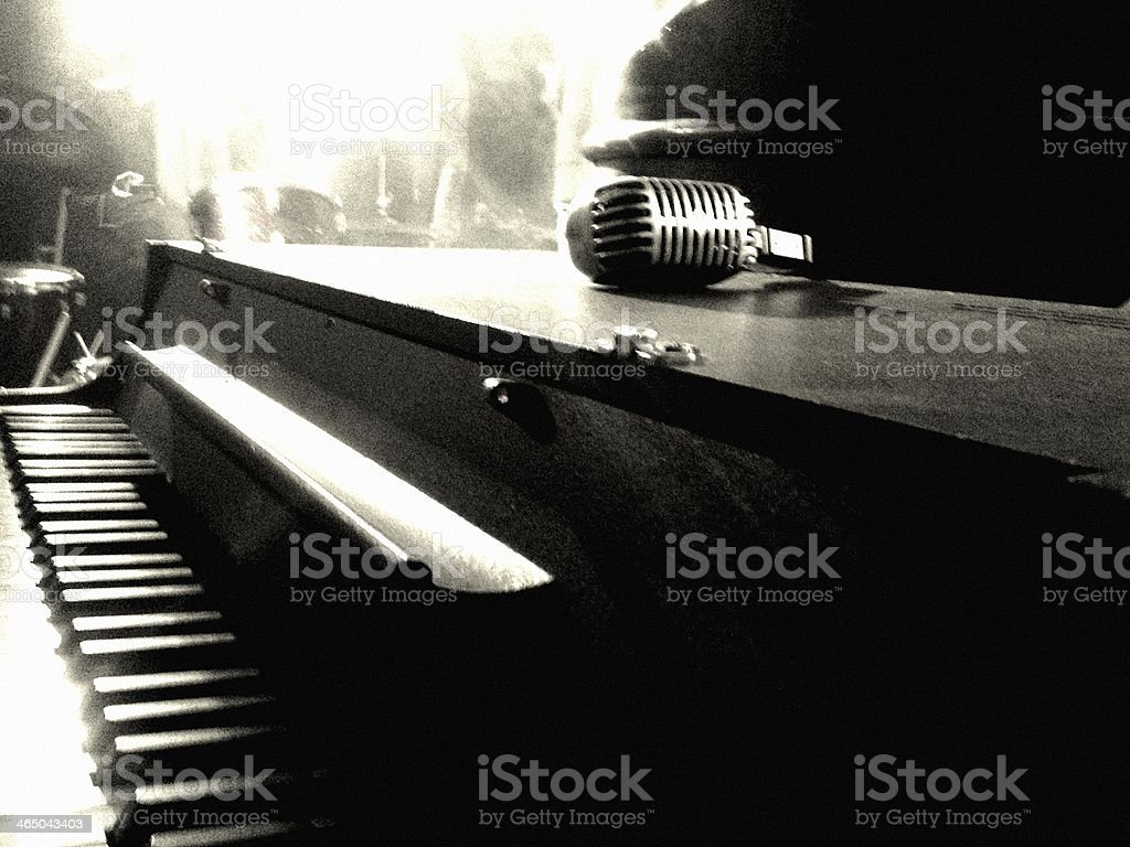 Piano & Microphone stock photo