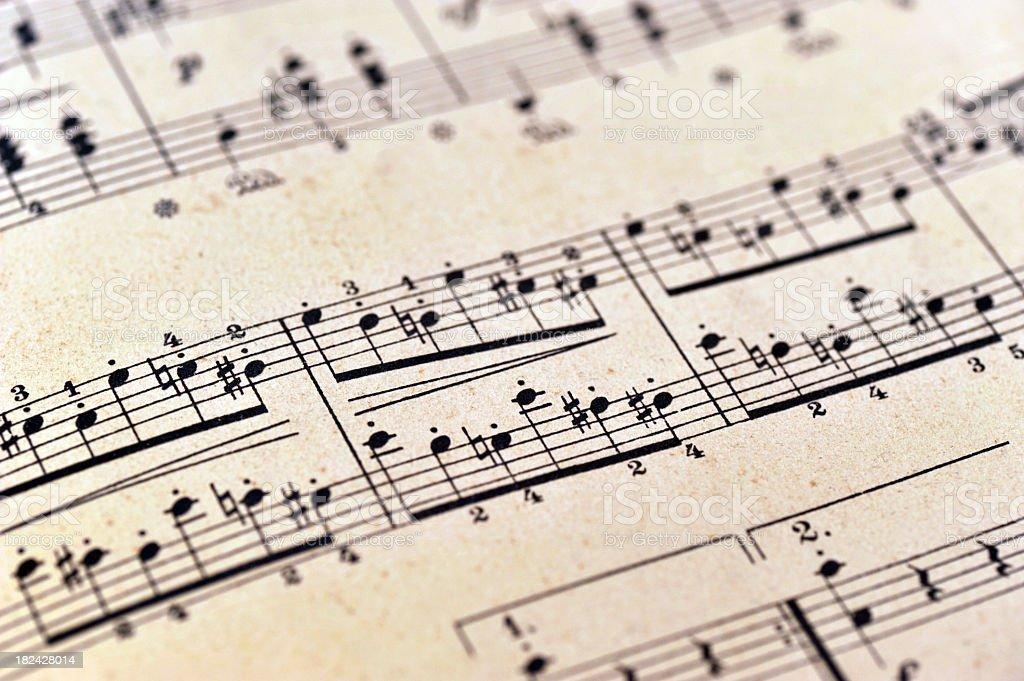 piano notes sheet music - Klaviernoten stock photo