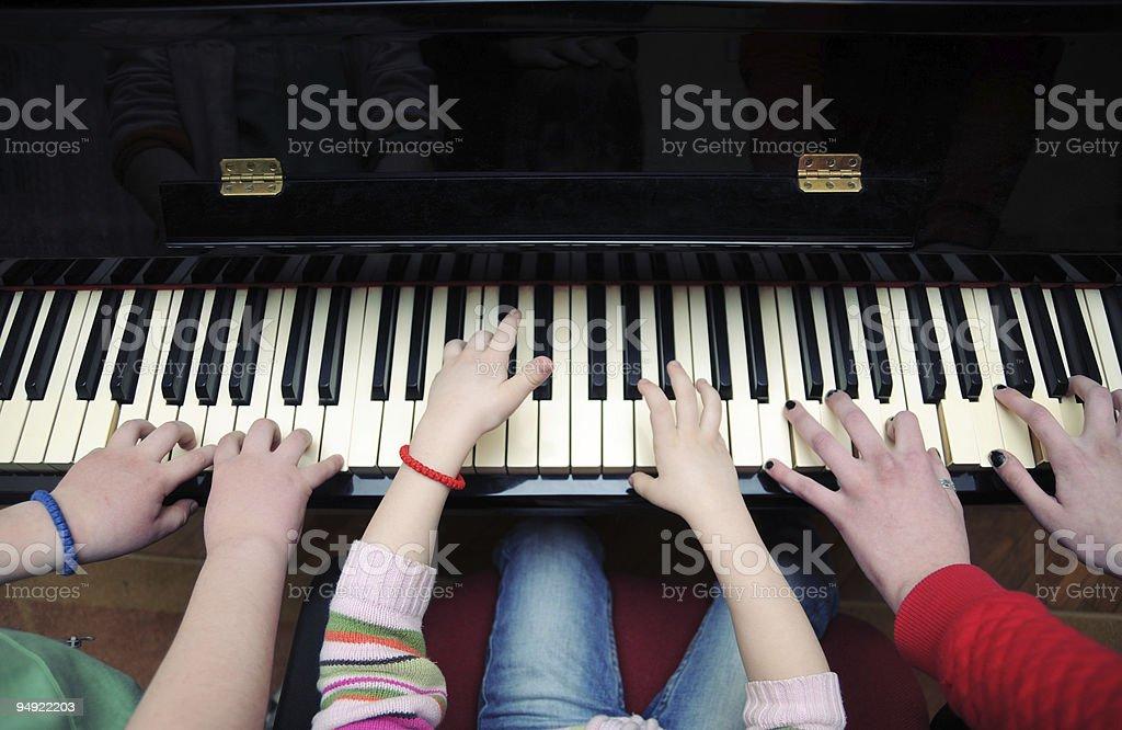 Piano players stock photo
