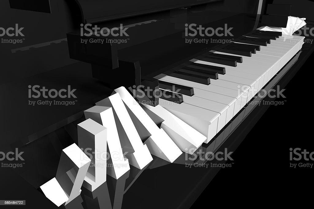 Piano, roll of piano keys stock photo