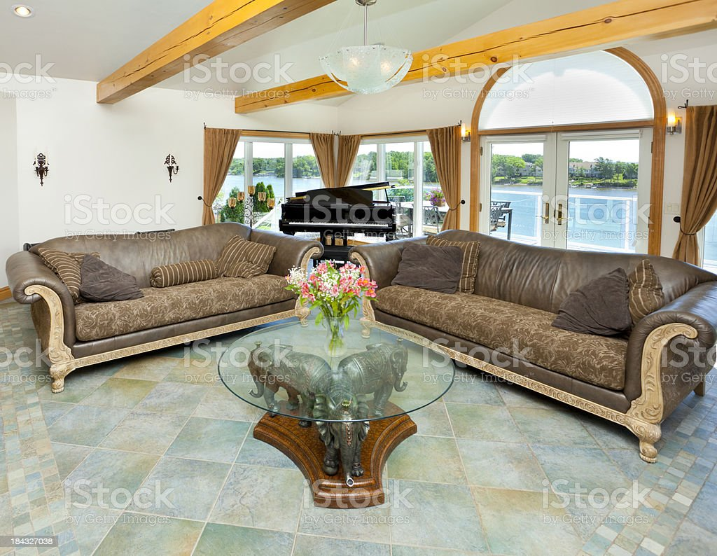 Piano Room With Waterfront View stock photo