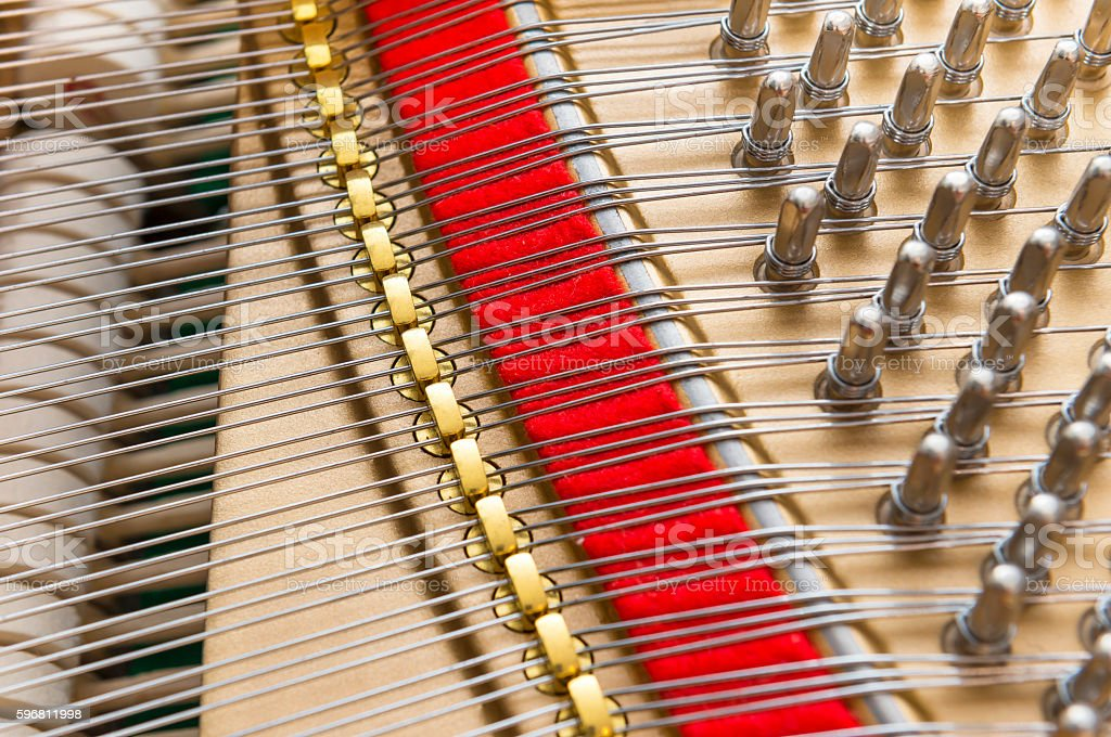 Piano strings and hammers background stock photo