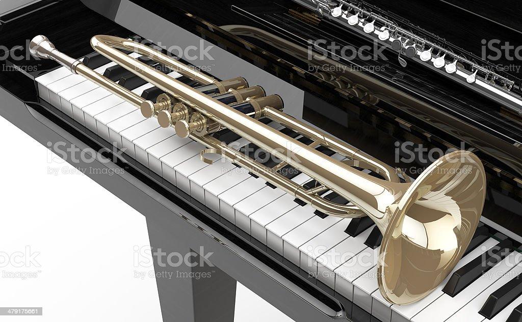 Piano, Trompeta y Flauta royalty-free stock photo