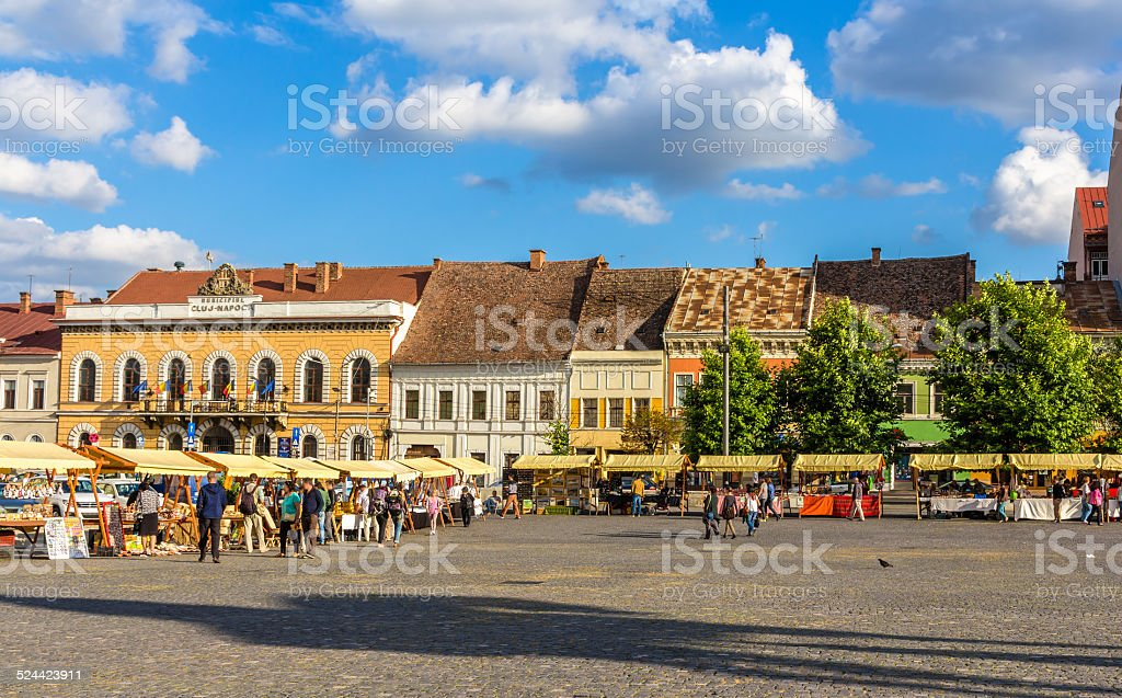 Piata Unirii (Union Square) in Cluj-Napoca, Romania stock photo