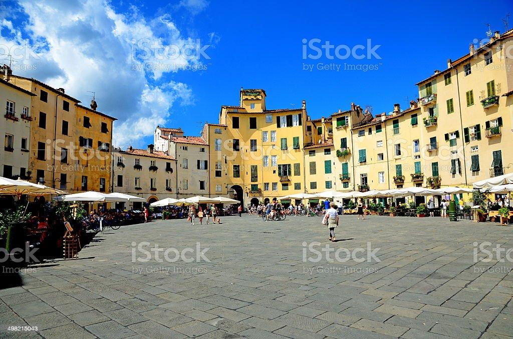Piazza Anfiteatro in Lucca stock photo