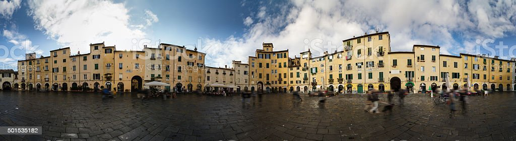 Piazza Anfiteatro, Lucca. Tuscany, Italy. stock photo