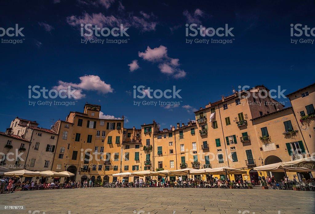 Piazza Anfiteatro, Lucca, Tuscany stock photo