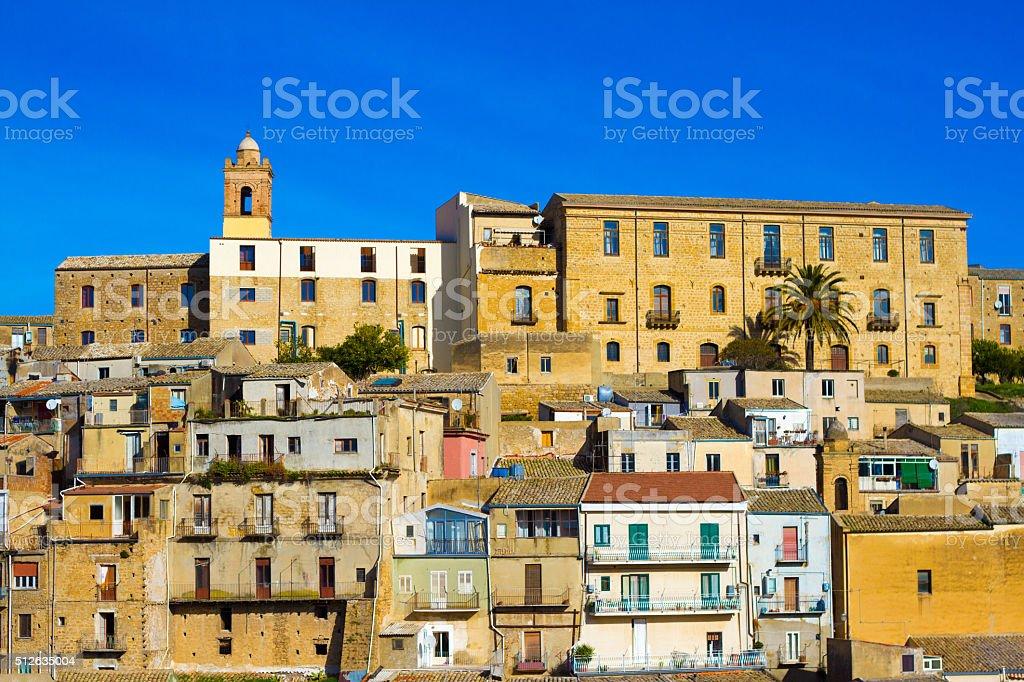 Piazza Armerina, Sicily: Panoramic View, Blue Sky Background stock photo