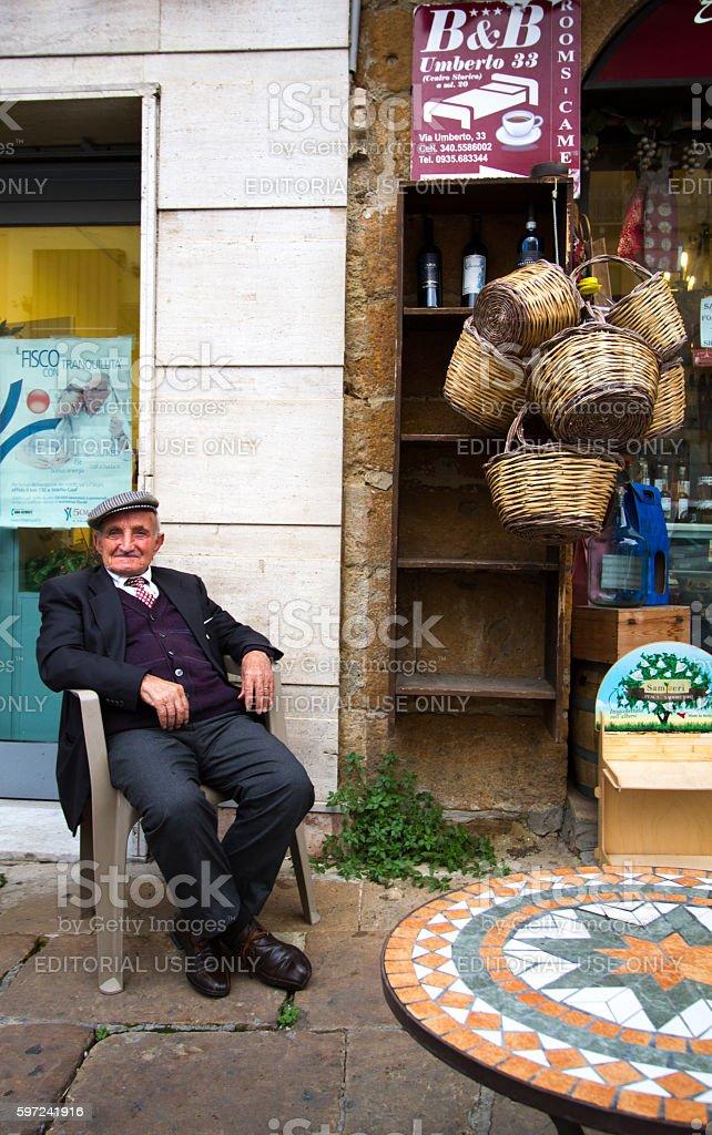 Piazza Armerina, Sicily: Senior Man in Traditional Cap/Coppola stock photo