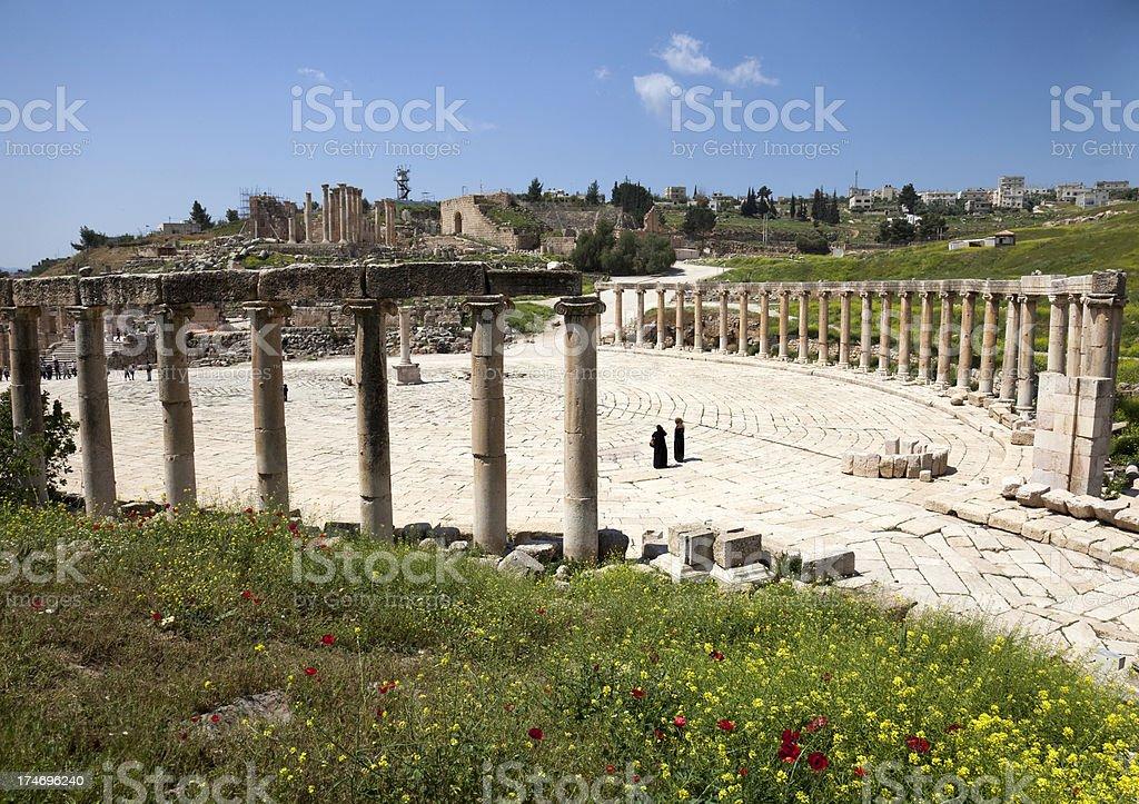 Piazza at Jerash stock photo