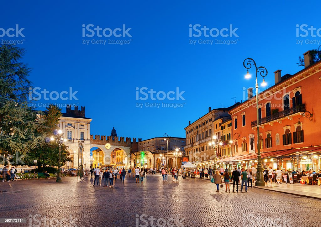Piazza Bra in Verona (Italy) at evening stock photo